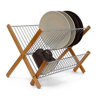 relaxdays Geschirrständer »Abtropfgestell CROSS Bambus-Metall«