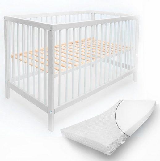 """Alcube Komplettbett »Babybett """"TONI"""" 60x120 cm I 70x140 cm«, mit Schlupfsprossen und Matratze optional mit Schublade Bettkasten in weiß Juniorbettfunktion"""