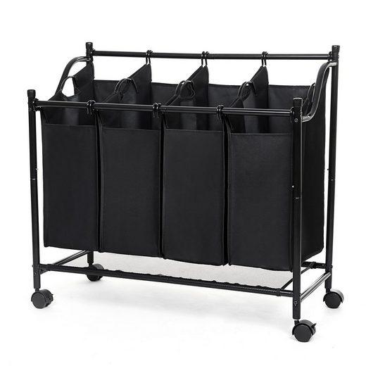 SONGMICS Wäschekorb »LSF005 LSF005S LSF005GS«, Wäschebehälter auf Rollen, schwarz