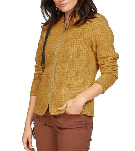 Rabe Kurzblazer »RABE Jacken-Blazer strukturierte Damen Strick-Jacke mit Reißverschluss Herbst-Jacke Gelb«