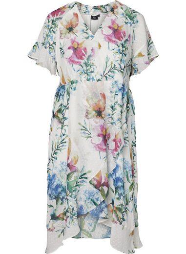 Zizzi Abendkleid Große Größen Damen Kleid mit Blumenprint und kurzen Ärmeln