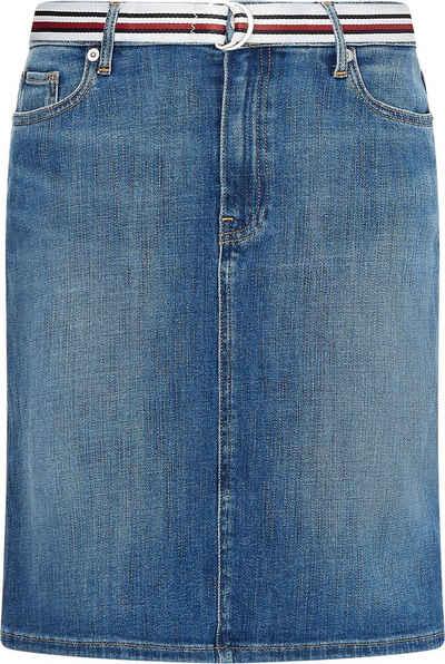 Tommy Hilfiger Jeansrock »Rome Straight HW Lena Skirt« mit Gürtel in den typischen Tommy Farben & Logo-Badge