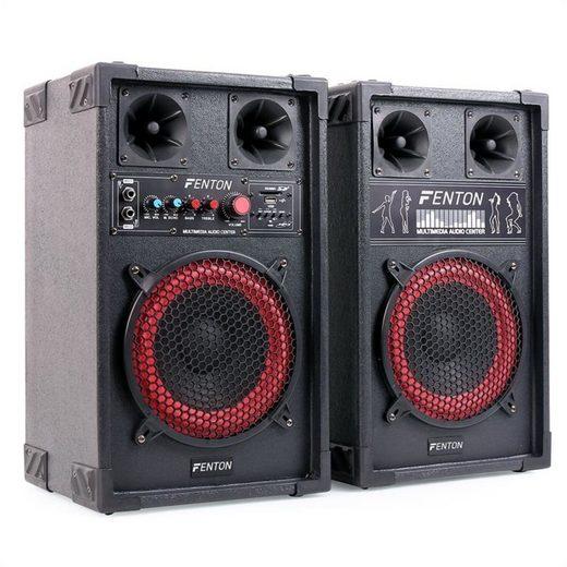 Fenton SPB-8 PA Aktiv Passiv Boxen Set 400W max. 20cm Woofer USB SD MP3 Lautsprecher