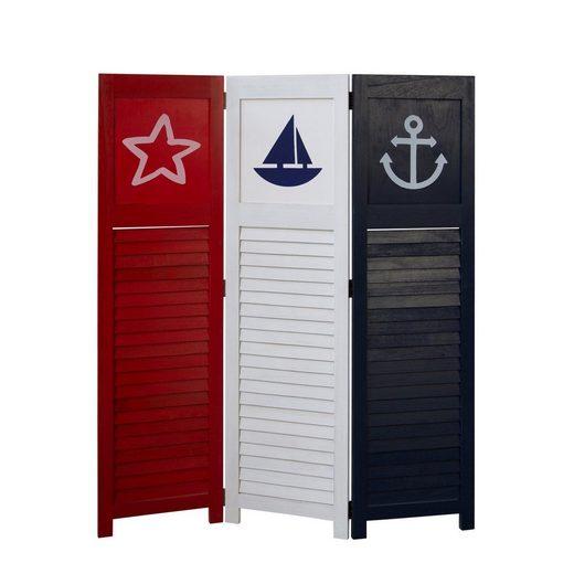 Homestyle4u Paravent »Raumteiler 3 fach Holz Trennwand Sea«