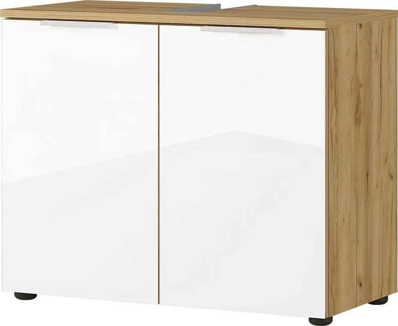 GERMANIA Waschbeckenunterschrank »Avino« Breite 70 cm, Glasfronten, Soft-Close-Funktion
