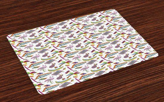Tischdecke, »Waschbare Stoff Esszimmer Küche Tischdekorations Digitaldruck«, Abakuhaus, (4-teilig, 4 Teilig-St., Set aus 4x), Flamingo 80er Memphis Bunte