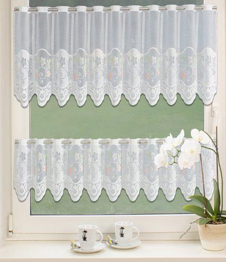 Scheibengardine »Bistrogardine Set Scheibengardine Küchengardine 2342 30, 50 x 160 cm Weiß Bunt Blumen«, EXPERIENCE, Stangendurchzug (2 Stück), Durchzugslöcher