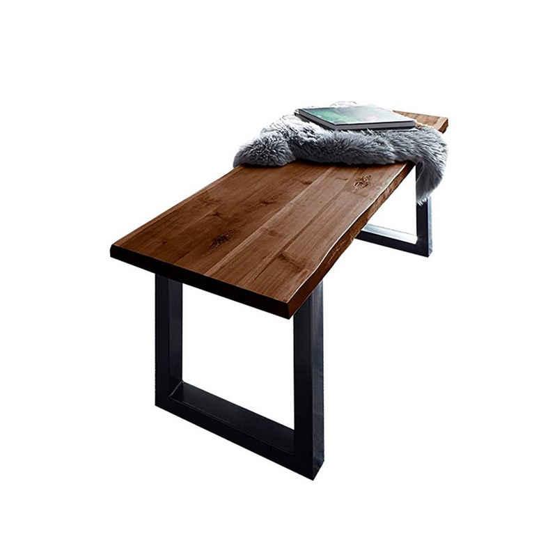 Junado® Essbank, Akazie Massivholz nussbaumfarben 26mm natürliche Baumkante