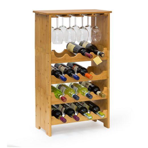 relaxdays Weinregal »Weinregal Bambus 16 Flaschen + 12 Gläser«