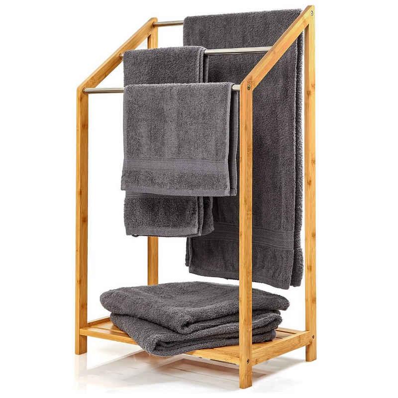 blumfeldt Handtuchhalter »Handtuchhalter 3-fache Metallstreben 51x86x31cm Stufenenoptik Bambus«
