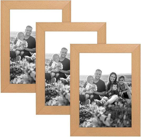 CABBEL Bilderrahmen, für 3 Bilder (Set, 3 Stück), 3er Set Bilderrahmen 10x15 MDF Holz-Rahmen mit bruchsicherem Acrylglas in Natur