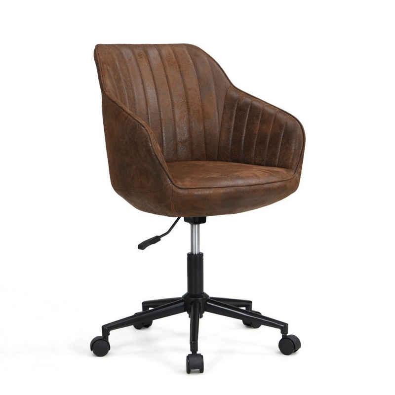 B&D home Bürostuhl »Chefsessel KNUT« (1 Stück), Drehstuhl mit Rollen, Schreibtischstuhl, Bürosessel, Schreibtisch Sessel, höhenverstellbar, Microfaser, Wildleder Optik