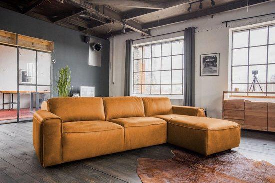 KAWOLA Sofa »EXTRA«, Ecksofa Leder versch. Ausführungen u. Größen mit motor. Sitztiefenverstellung