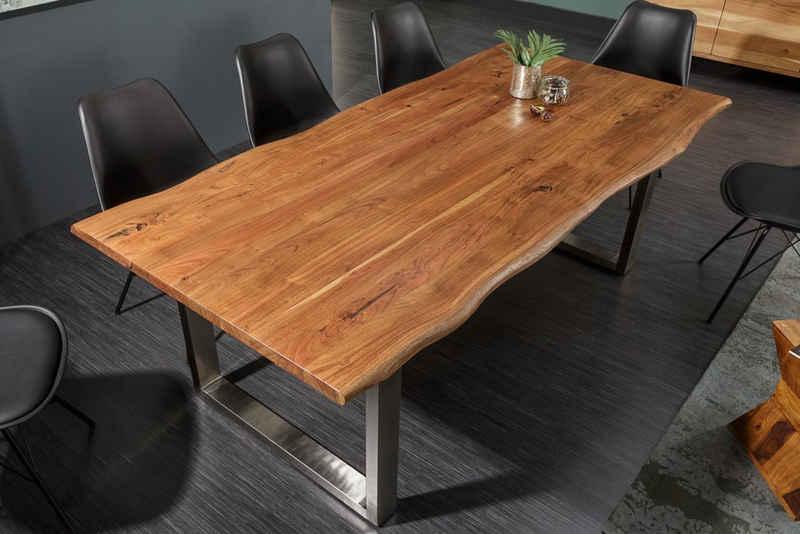 riess-ambiente Esstisch »MAMMUT NATURE 160cm honigfarben«, Massivholz · Baumkante · Kufengestell aus Edelstahl · 3,5cm Tischplatte