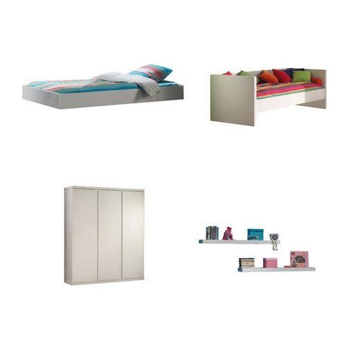 Kindermöbel 24 Jugendzimmer-Set »Jugendzimmer Darcy Vipack Bett+Bettschub.+Wandregale+Kleiderschr.«