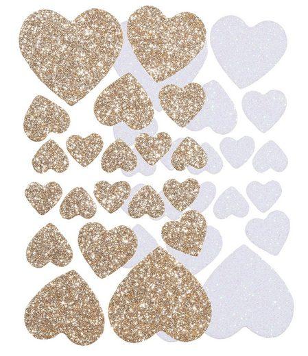 Folia Sticker »Herzen«, 40 Stück, selbstklebend