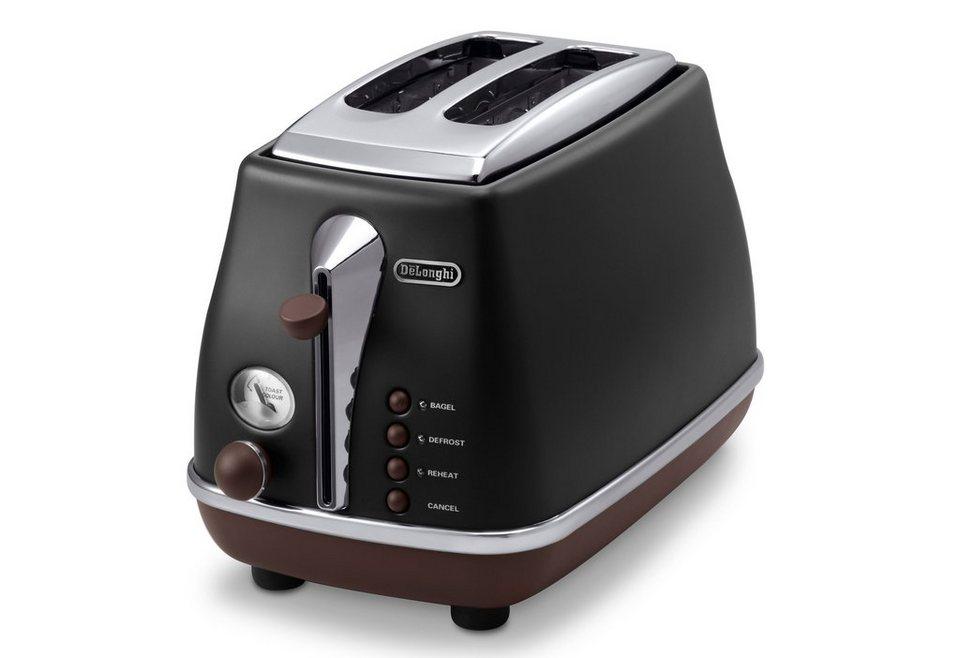 De'Longhi Toaster Icona Vintage »CTOV 2103.BK«, im Retro-Look, mit Brötchenaufsatz, 900 Watt in schwarz