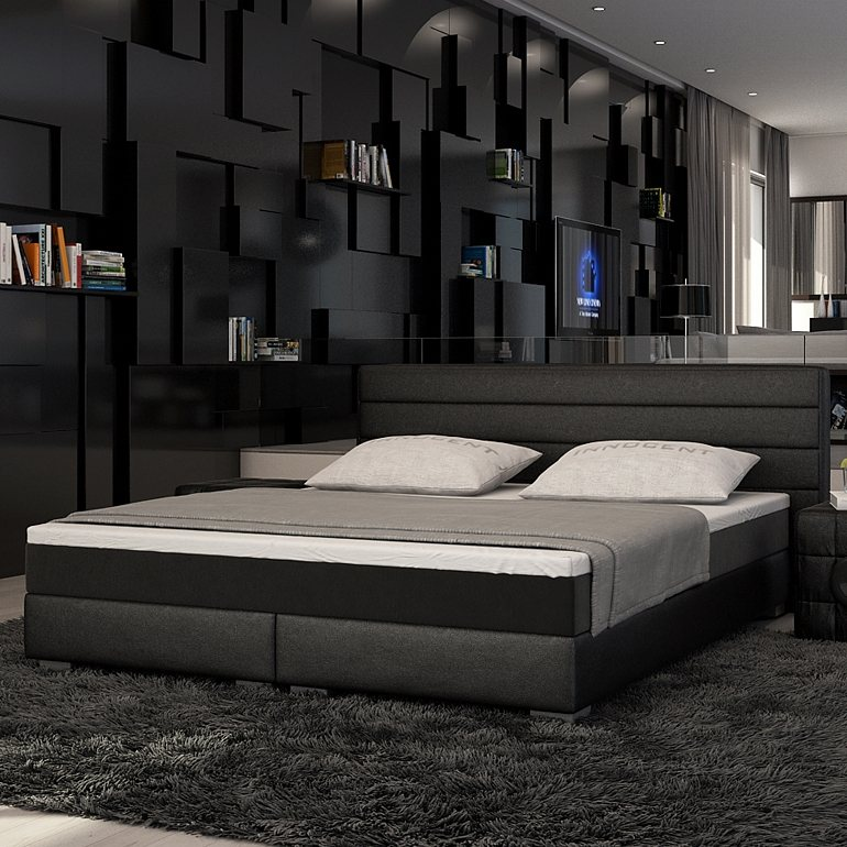 innocent boxspringbett aus kunstleder schwarz panson online kaufen otto. Black Bedroom Furniture Sets. Home Design Ideas