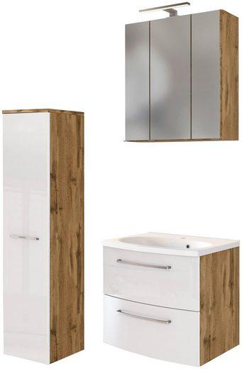 HELD MÖBEL Badmöbel-Set »Catania«, (3-St), mit 3D-Spiegelschrank und gebogenes Mineralgussbecken