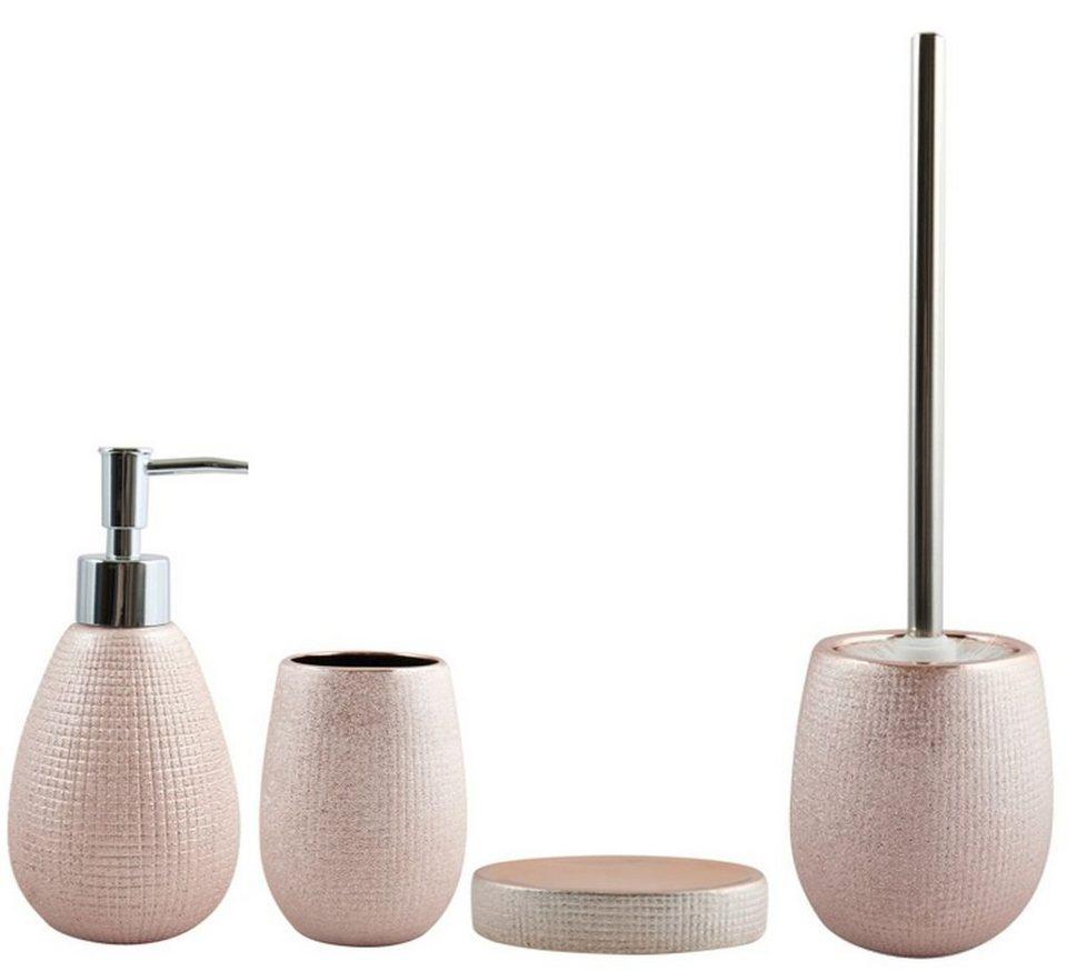 MSV Badaccessoires Sets »Bad Zubehör Set SHANGHAI«, Keramik, rosé gold,  elegantes Design, 20 tlg., bestehend aus WC Bürste, Seifenspender, ...