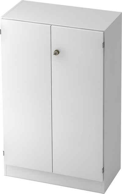 bümö Aktenschrank »OM-6550« Büroschrank, Flügeltürenschrank für Ordner, Akten & Bücher mit 3 Ordnerhöhen - Dekor: Weiß/Weiß