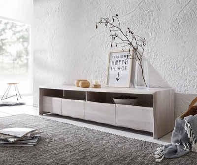 DELIFE Lowboard »Live-Edge«, Akazie White Washed 190 cm 4 Schubkästen Baumkante