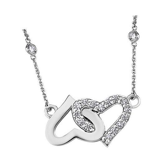 LOTUS SILVER Silberkette »JLP1594-1-1 Lotus Silver Herzen Halskette« (Halsketten), Damen Kette Herzen aus 925 Sterling Silber, silber, weiß