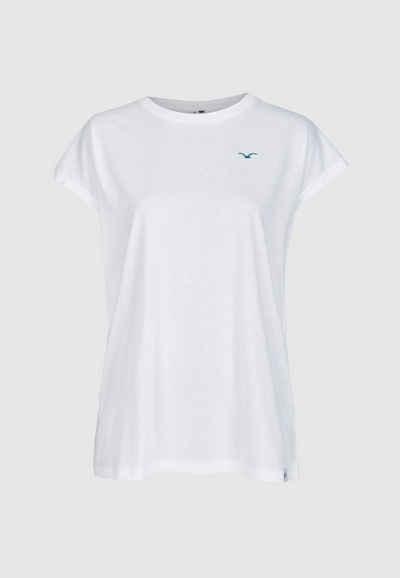 Cleptomanicx T-Shirt »Gilli« mit Möwenstickerei auf der Brust