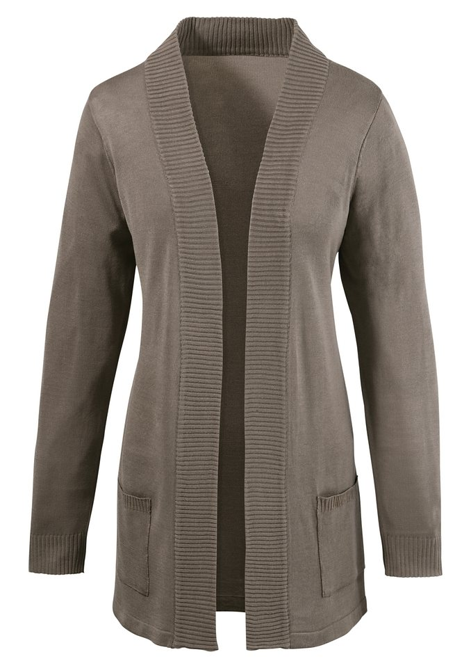 Ambria Strickjacke in modisch offener Form in taupe