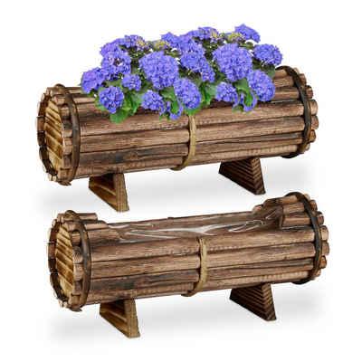 relaxdays Blumenkasten »Blumenkasten Holz 2er Set« (2er Set, 2 Stück)