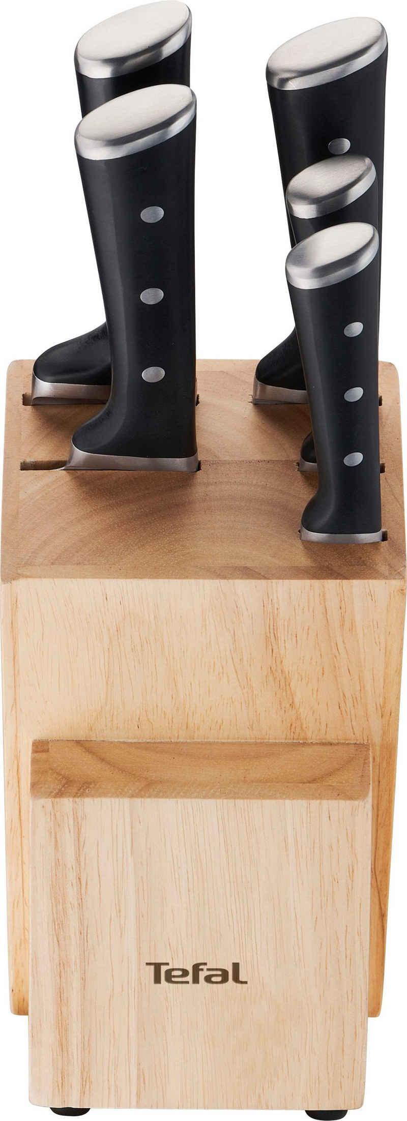 Tefal Messerblock »Ice Force« (6tlg), K232S5, 6-teiliges Set, Ice Force Technologie, dauerhafte Leistungsfähigkeit, formschönes Design, Edelstahl/Holz