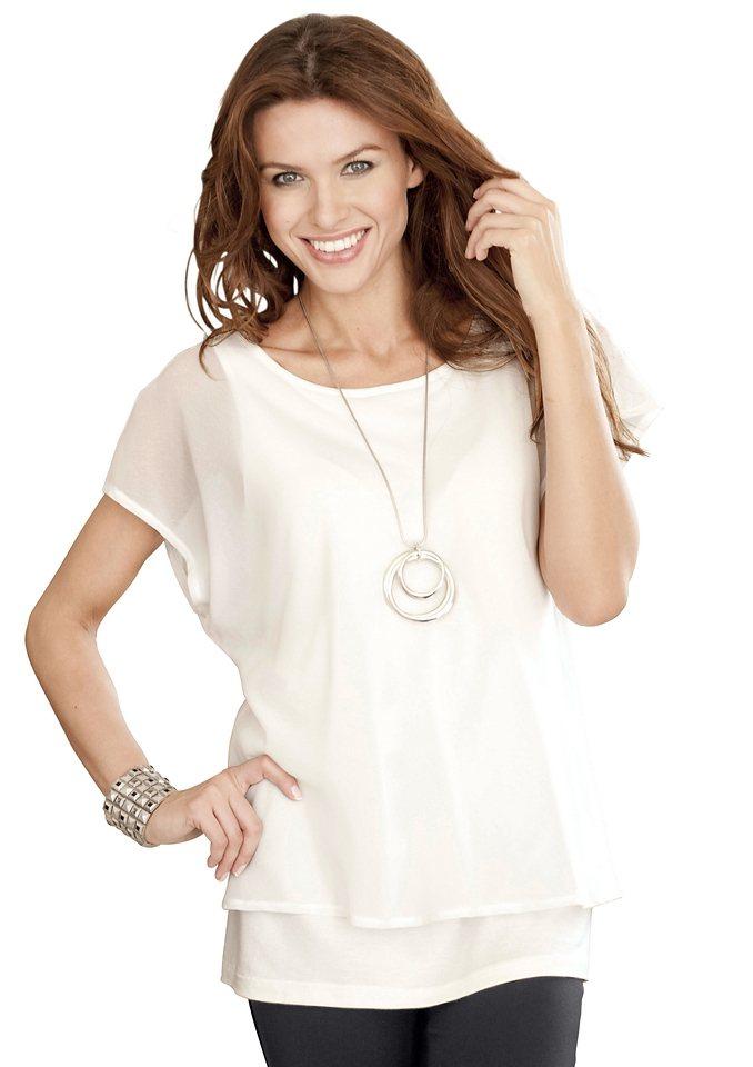 Ambria Longshirt in luftiger, leicht transparenter Georgette-Ware in ecru