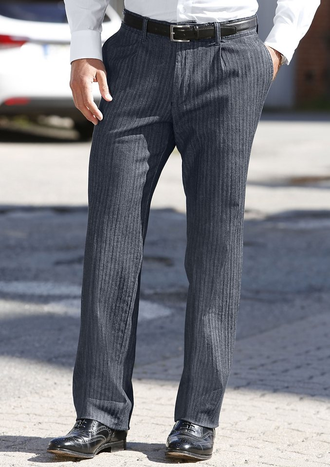 Francesco Botti Jeans mit Bundfalten in dark blue