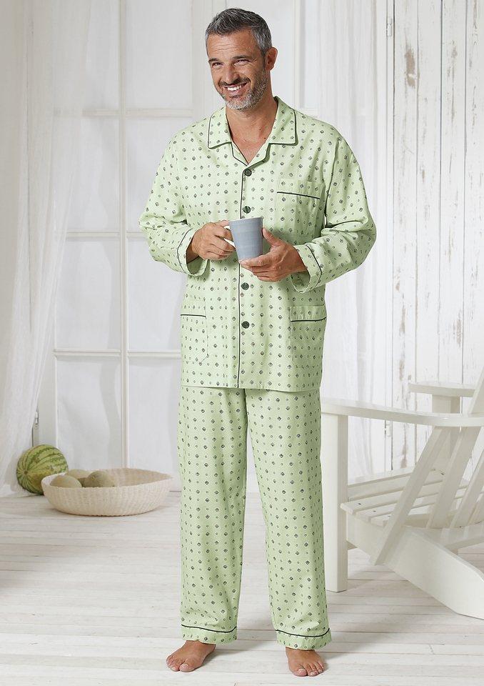 Schlafanzug, Kings Club in grün-bedruckt