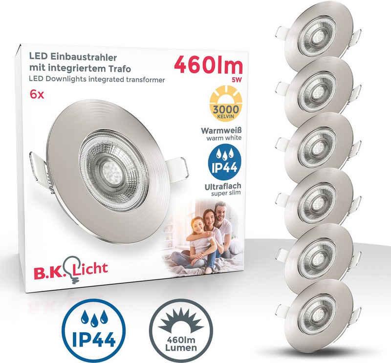 B.K.Licht LED Einbauleuchte, LED Bad Einbauspots Strahler Lampe ultraflach Deckenspots IP44 6er SET