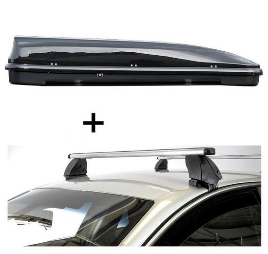 VDP Fahrradträger, Dachbox VDPFL460 460 Liter schwarz glänzend + Dachträger K1 PRO Aluminium kompatibel mit Citroen C4 Cactus (5Türer) ab 18