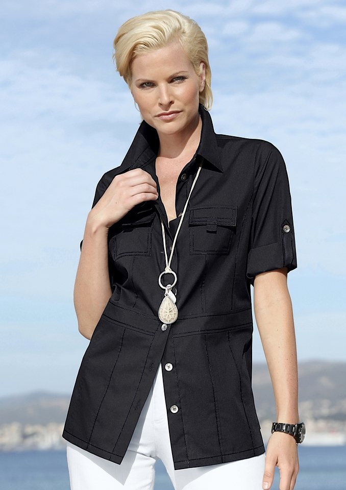 Création L Bluse mit 3/4-lange Ärmel zum Krempeln in schwarz