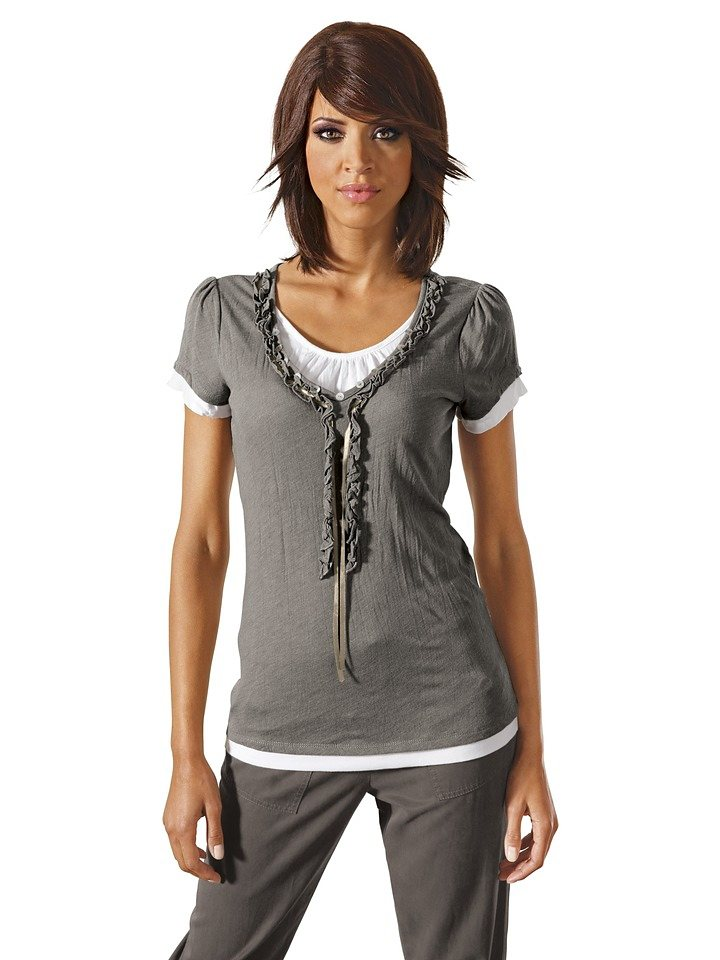 LINEA TESINI by Heine Two-in-one-Shirt mit Rüsche in helltaupe