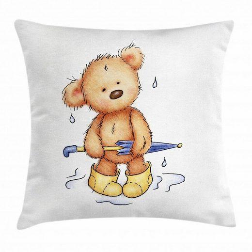 Abakuhaus Kissenbezug »Waschbar mit Reißverschluss Kissenhülle mit Farbfesten Klaren Farben Beidseitiger Druck«, Bär Teddybär-Regen-Regenschirm
