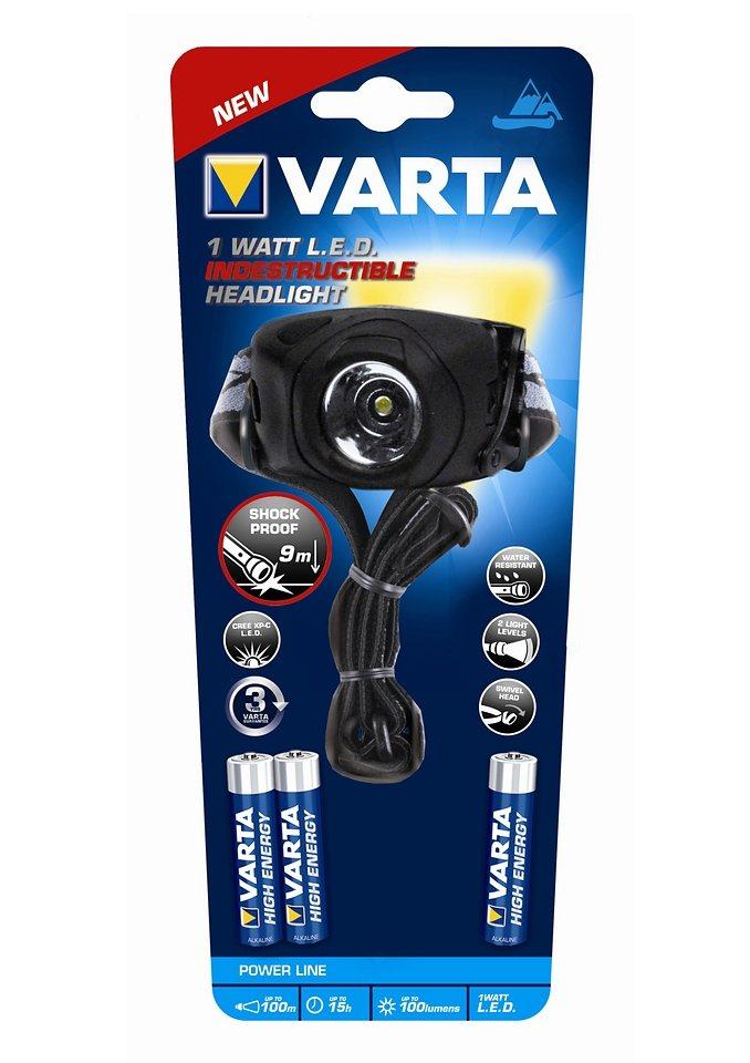 LED-Kopflampe inklusive Batterien, Varta, »Indestructible 1 Watt LED Head Light 3AAA«