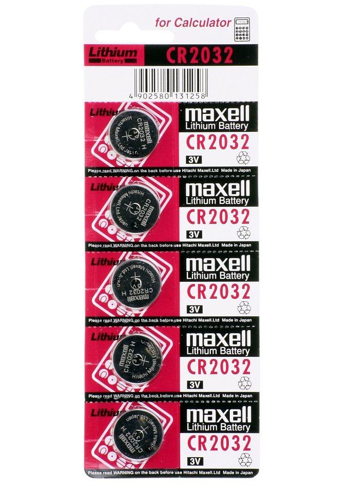 Maxell, Batterie Knopfzelle 3V, »CR2032« (5 Stck.)