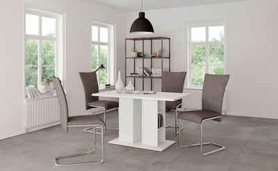 Homexperts Säulen-Esstisch »Mulan«, Breite 110 cm mit Regalfächern, in 3 Farben erhältlich