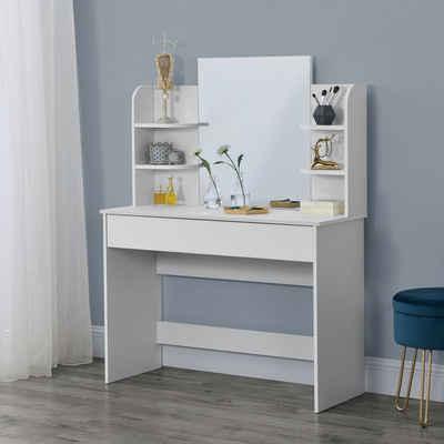 en.casa Schminktisch, »Eda« Frisierkommode mit Schublade und Spiegel 139,5x108x40cm weiß
