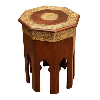 Casa Moro Beistelltisch »Orientalischer Couchtisch Meena Ø 40cm aus Massivholz mit Messing verziert, achteckig, Handmade Beistelltisch Vintage Sofatisch, MA79-25«, marokkanischer Stil