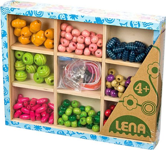 Lena® Bastelperlen »Holzperlen zum Fädeln in Holzkiste, 290 Perlen«