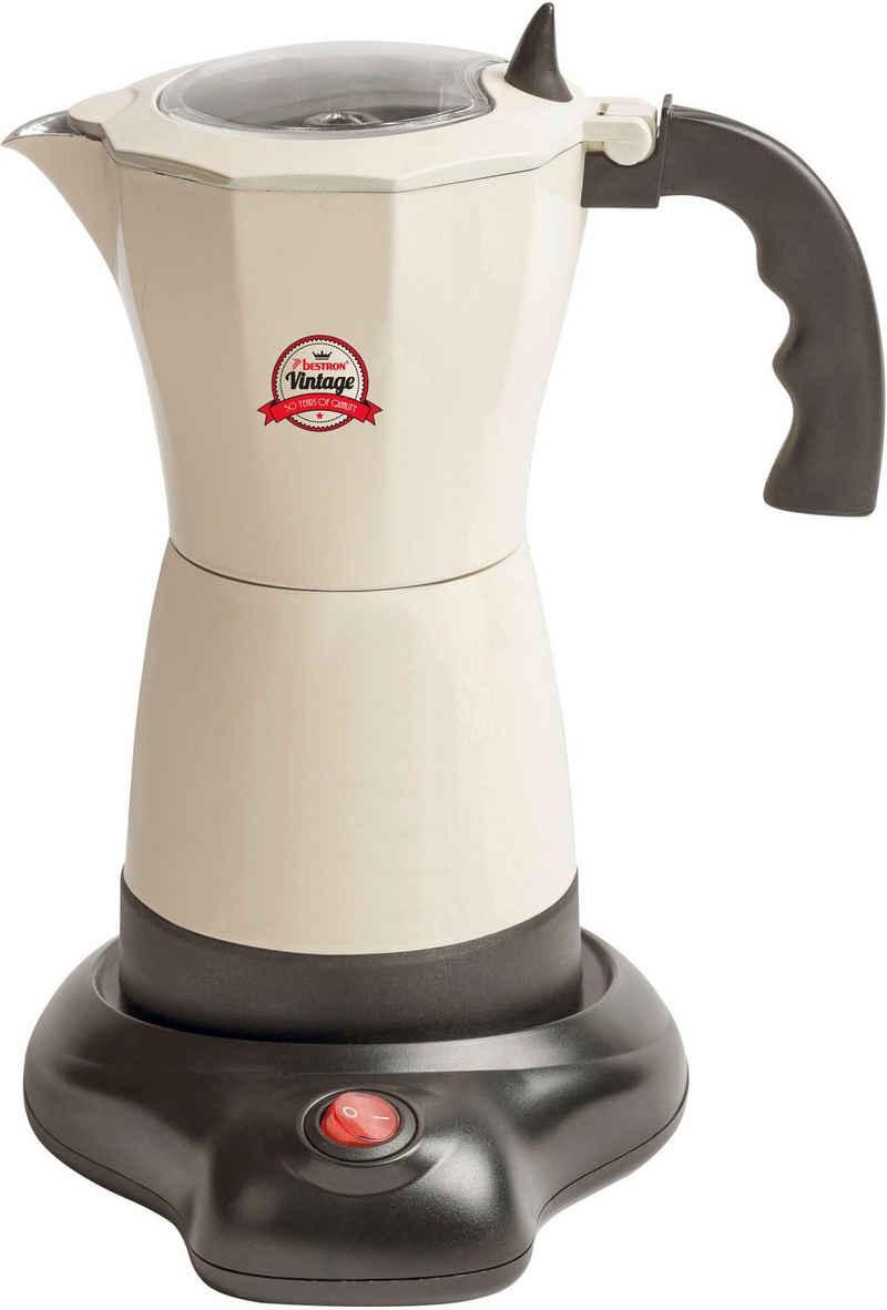 bestron Espressokocher Vintage, Permanentfilter, mit Basis, 6 Espressotassen, 480 Watt, Aluminium, Farbe: Beige