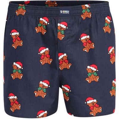 HAPPY SHORTS Boxershorts »Happy Shorts Herren american Boxer Boxershorts Shorts Webboxer XMAS Teddie Weihnachten Bär« (1 Stück)