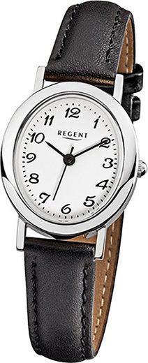 Regent Quarzuhr »D2URF580 Regent Leder Damen Uhr F-580 Quarzuhr«, (Quarzuhr), Damenuhr mit Lederarmband, ovales Gehäuse, klein (ca. 23mm), Elegant-Style