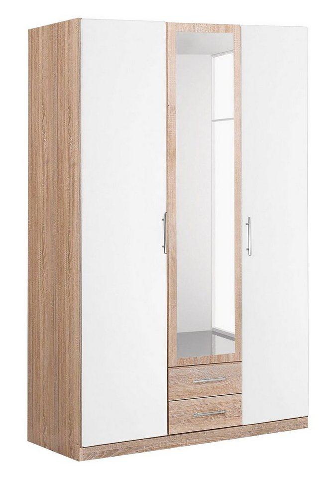 Wimex Kleiderschrank mit Spiegeltür und Schubkästen in struktureichefarben hell/weiß