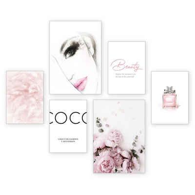 Kreative Feder Poster »Beauty«, Beauty (Set, 6 Stück), 6-teiliges Poster-Set, Kunstdruck, Wandbild, Posterwand, Bilderwand, optional mit Rahmen, WP526